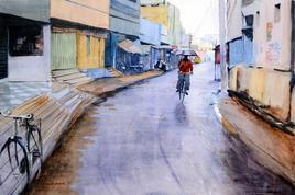 A Wet Evening by Ramesh Jhawar, , , Brown color
