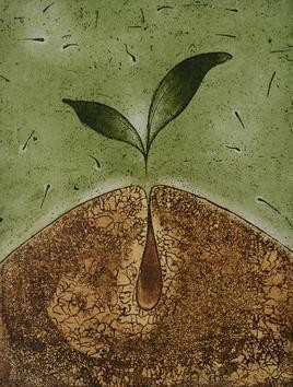 Bud by Anup Mitra, Printmaking, Etching on Paper, Brown color
