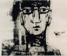 Portrait by Anup Mitra, Printmaking, Lithography on Paper, Gray color