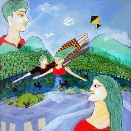 Romance In The Forest II by Sambuddha Duttagupta, Fantasy, Fantasy Painting, Acrylic on Canvas, Cyan color