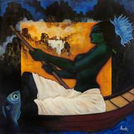 Royal Lady Of Mahabharata: Satyawati Digital Print by Avik Chakraborty,Impressionism, Impressionism