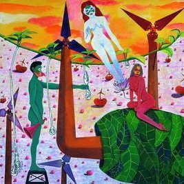 The Zealous Story by Gayatri Artist, Naive, Naive Painting, Acrylic on Canvas, Brown color