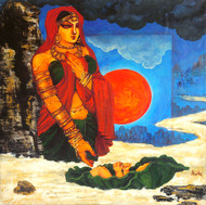 Kunti: The Royal Mother Digital Print by Avik Chakraborty,Impressionism, Impressionism