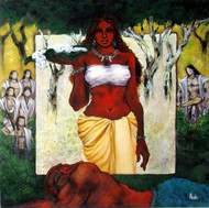 Hirimba, The Tribal Conection by Avik Chakraborty, Impressionism, Impressionism Painting, Acrylic on Canvas, Brown color