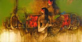 Girl's Chatting With Bird's by Amol Pawar, , , Brown color