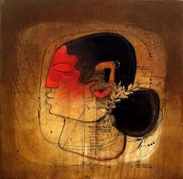 Moh Maya IV by Amol Pawar, Decorative, Decorative Painting, Oil on Canvas, Brown color