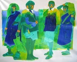 Untitled 364 by Srinivas Tailor, , , Green color