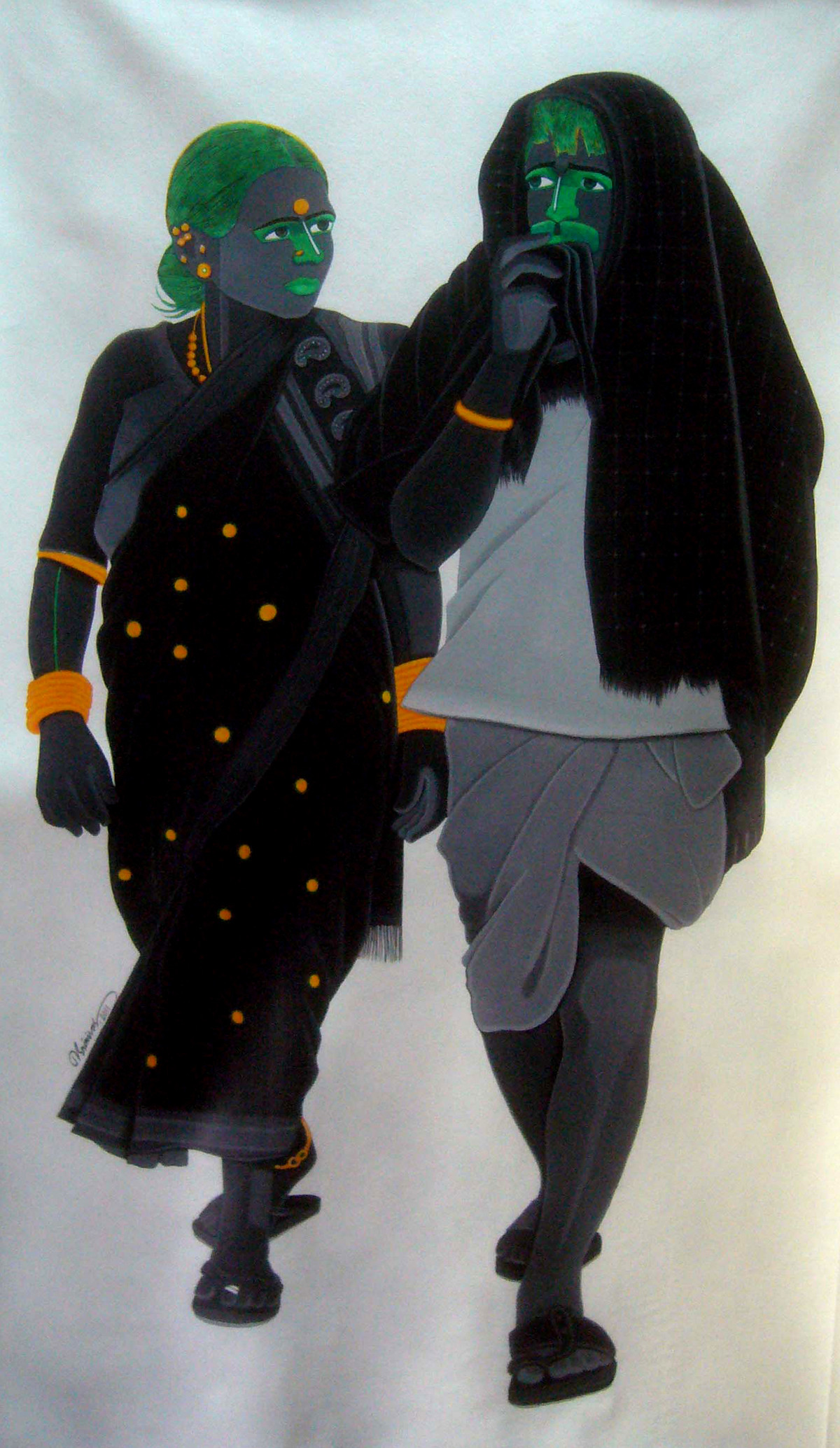 Untitled 305 by Srinivas Tailor, Painting, Acrylic on Canvas, Gray color