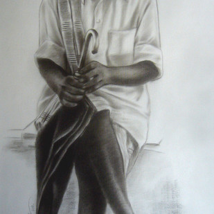 Untitled 309 by Srinivas Tailor, Drawing, Charcoal on Canvas, Gray color