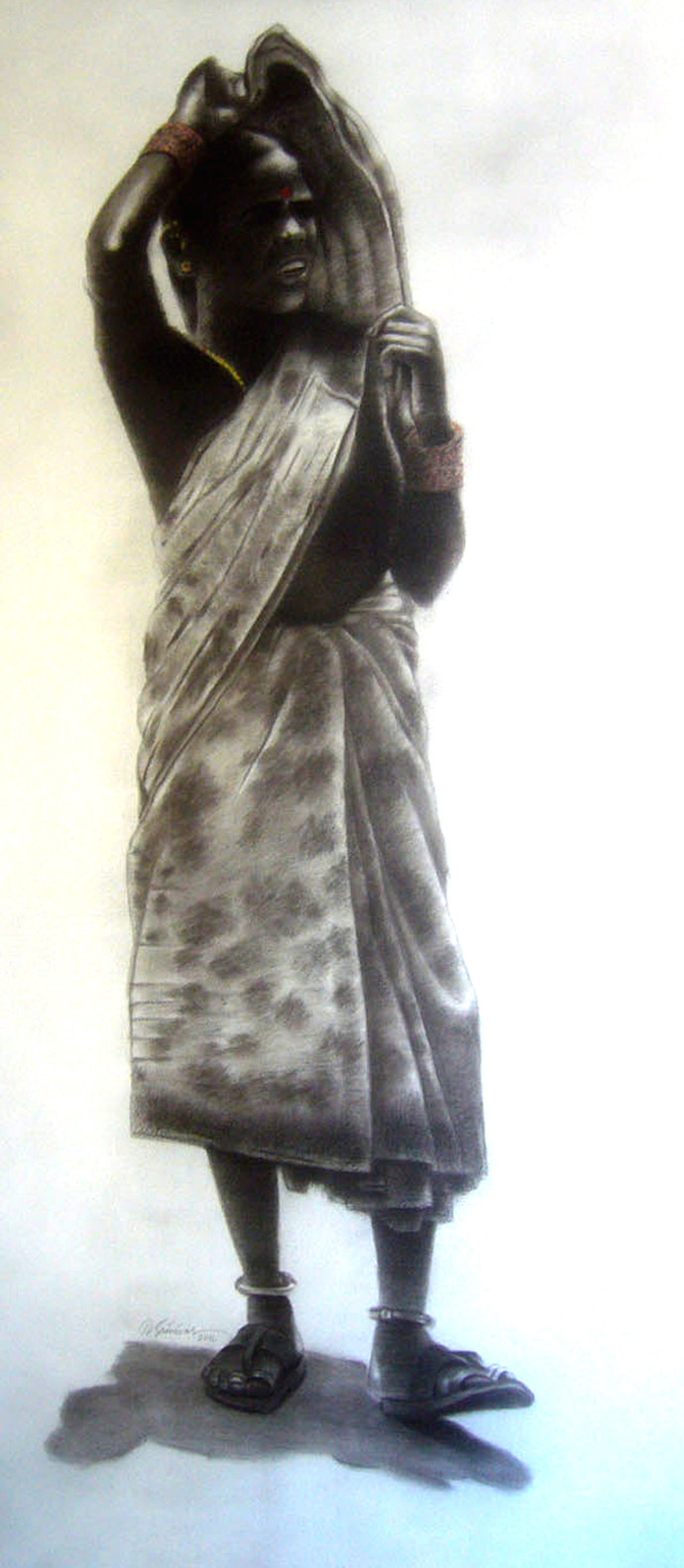 Untitled 478 by Srinivas Tailor, Drawing, Charcoal on Canvas, White color