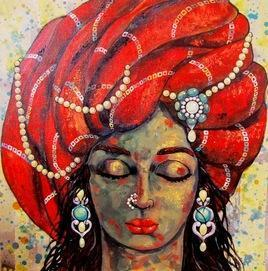 Girl In A Red Turban by Suruchi Jamkar, , , Brown color