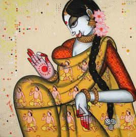 Rhythmic 2 by Varsha Kharatmal, , , Brown color