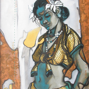 Beauty 18 by Ramchandra Kharatmal, Traditional, Traditional Painting, Mixed Media on Canvas, Brown color