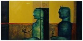Shiv N Shakti by Vijay Kale, Conceptual, Conceptual Painting, Acrylic on Canvas, Green color