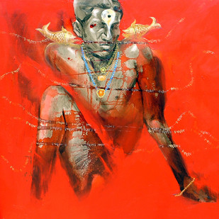 Bhakt by Bhaskar Mandolu, Expressionism, Expressionism Painting, Acrylic on Canvas, Red color