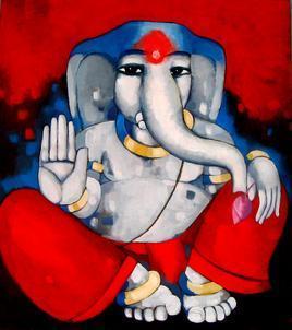 Ganesha by Sekhar Roy, , , Red color
