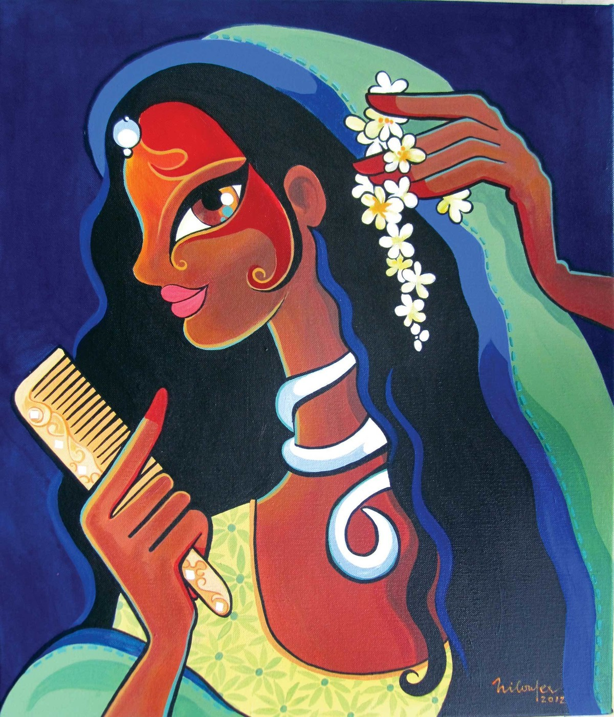 Shringar by Niloufer Wadia, Decorative Painting, Acrylic on Canvas, Blue color