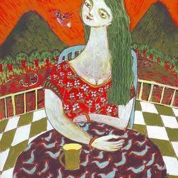 An Evening On The Terrace by Sambuddha Duttagupta, Painting, Acrylic on Board, Brown color