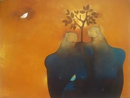 Couple Green by Amol Pawar, Painting, Acrylic on Canvas, Brown color