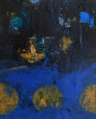 Thinking Form & Content-Series by Gopal Nayak Chandavath, Painting, Mixed Media on Paper, Blue color