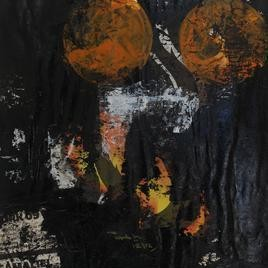 Thinking Form & Content-Series by Gopal Nayak Chandavath, Painting, Mixed Media on Paper, Gray color