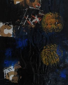 Thinking Form & Content-Series by Gopal Nayak Chandavath, Painting, Mixed Media on Paper, Black color