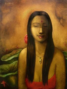 Lady With Leaves by Ramesh Terdal, Decorative, Decorative , Oil on Canvas, Brown color