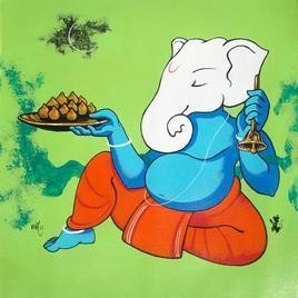 Lord Ganesh XXXIX by Prakash Pore, , , Green color