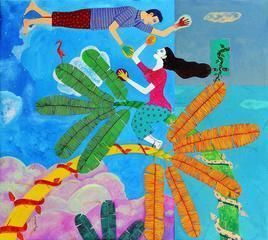 Chronicle of the Ecstacies by Gayatri Artist, Naive, Naive Painting, Acrylic on Canvas, Cyan color