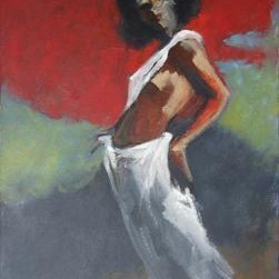 Teen In white by Tirthankar Biswas, Painting, Oil on Canvas, Brown color