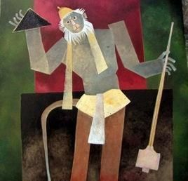 Hail Hanumaan by Haren Thakur, Naive, Naive Painting, Mixed Media on Canvas, Brown color