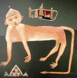 Humble Hanumaan by Haren Thakur, Naive, Naive Painting, Mixed Media on Canvas, Brown color