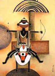 Transformation by Haren Thakur, Naive, Naive Painting, Mixed Media on Canvas, Beige color