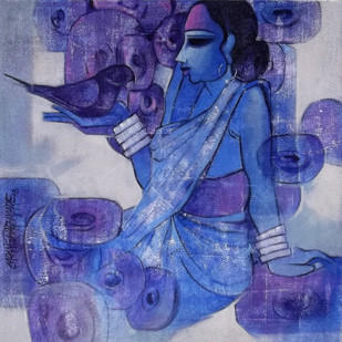 Faith 1 by Sarang Waghmare, Decorative, Decorative Painting, Acrylic on Canvas, Blue color