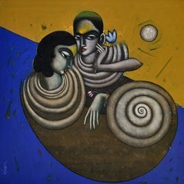 Love Song II by Sanjay Tikkal, Painting, Acrylic on Canvas, Brown color