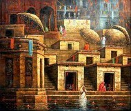 Benaras by Paramesh Paul, Painting, Oil on Canvas, Brown color