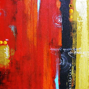 Red Mystery by Anuradha Date, Abstract, Abstract Painting, Acrylic on Canvas, Red color