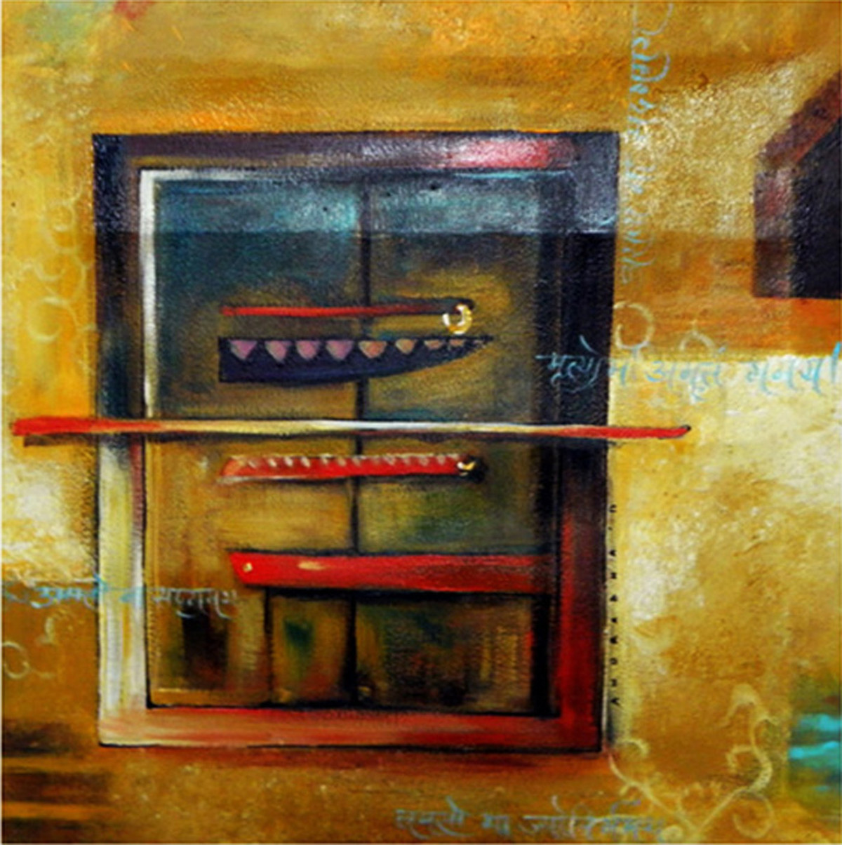 Rustic City by Anuradha Date, Expressionism Painting, Acrylic on Canvas, Brown color