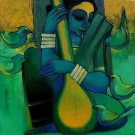Tapasya by Sarang Waghmare, Decorative, Decorative Painting, Acrylic on Canvas, Green color