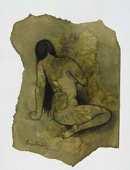 Nude 3 by Ramesh Terdal, Decorative, Decorative Painting, Watercolor on Paper, Green color