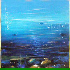 Panchmahabhutas by Anuradha Date, Conceptual, Conceptual Painting, Acrylic on Canvas, Blue color