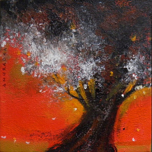 Woods 2 by Anuradha Date, Expressionism Painting, Acrylic on Canvas, Brown color