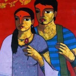 Friends 119 by Ganesh Patil, Decorative, Decorative Painting, Acrylic on Canvas, Brown color