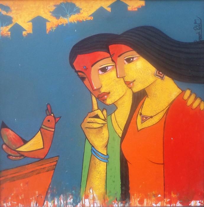 Friends 118 by Ganesh Patil, Decorative, Decorative Painting, Acrylic on Canvas, Blue color