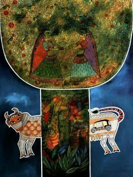 Auto Cow and Krishna by Meenakshi Jha Banerjee, Folk, Traditional, Tribal Painting, Acrylic on Canvas, Green color