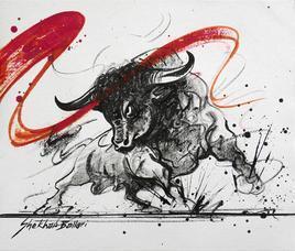 Bull by Shekhar Ballari, , , Gray color