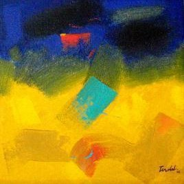 Abstract 23 by Ramesh Terdal, Abstract, Abstract , Oil on Canvas, Blue color