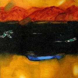 Landscape 1 by Ramesh Terdal, Abstract, Abstract , Oil on Canvas, Orange color