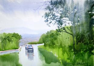 Monsoon Showers - Painting by Ramesh Jhawar