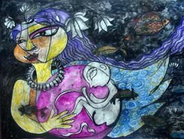 Pregnant Dream 2 by Lipika Bala Chakraborty, Expressionism Painting, Mixed Media on Paper, Blue color